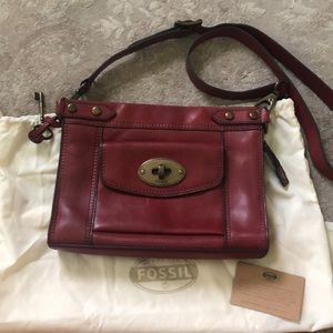 Fossil Crossbody Bag in Red Leather